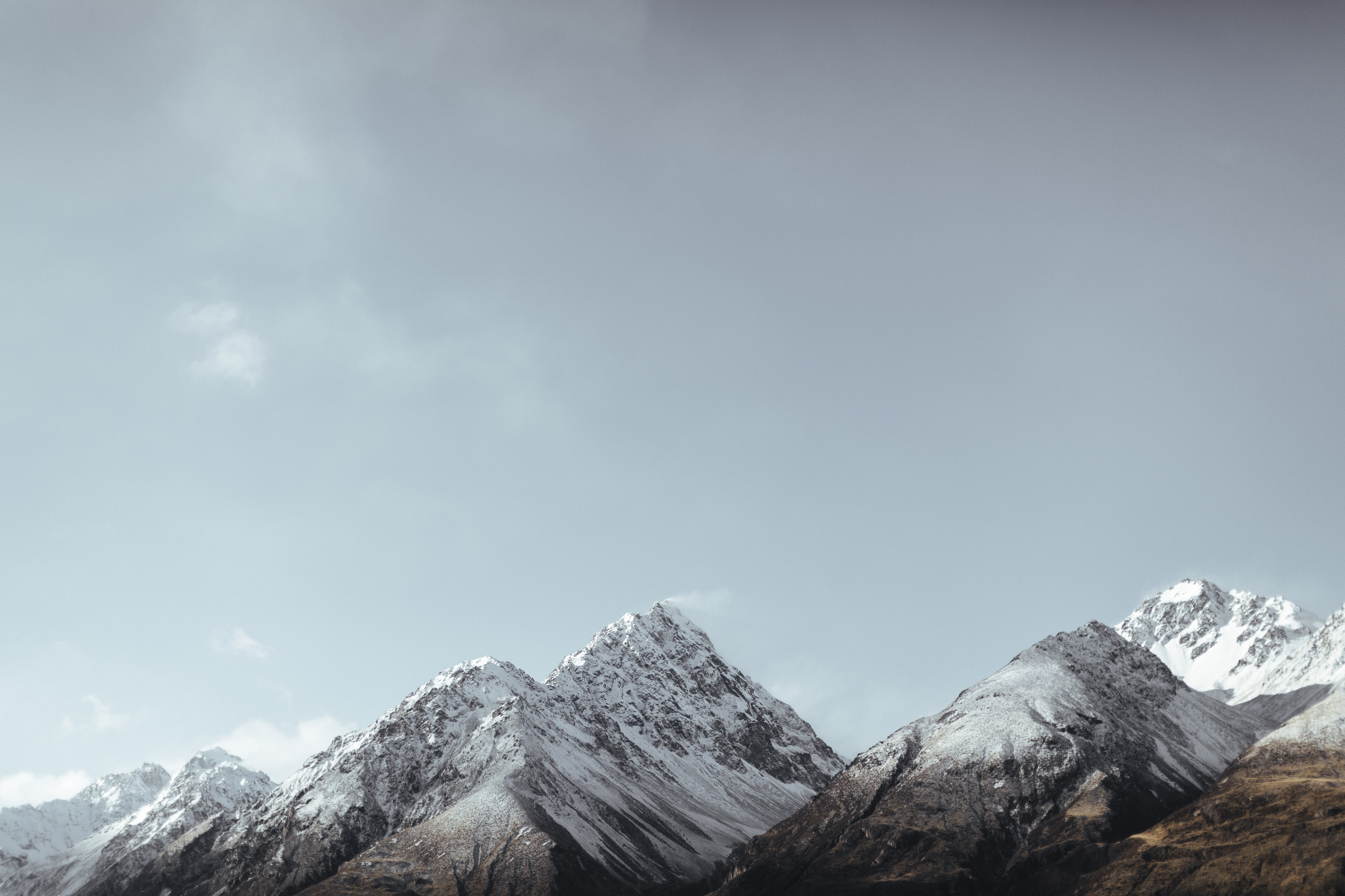 The snow-covered Mount Cook on a cold morning