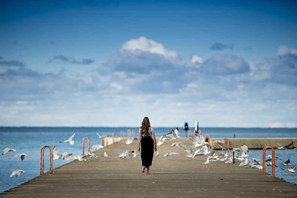 woman standing on a boardwalk surrounded by birds