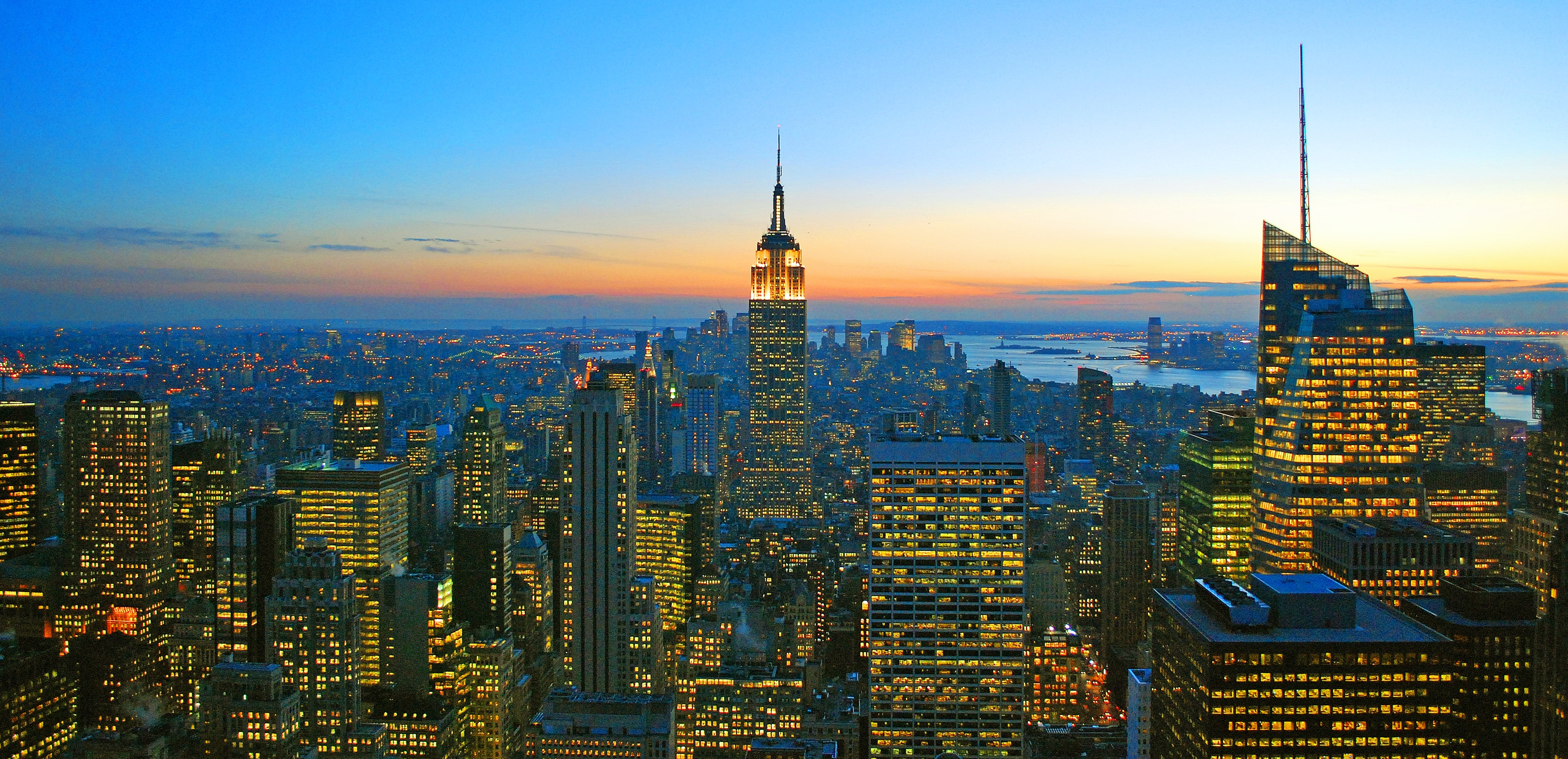 New York City skyline during sunset including the Chrysler building