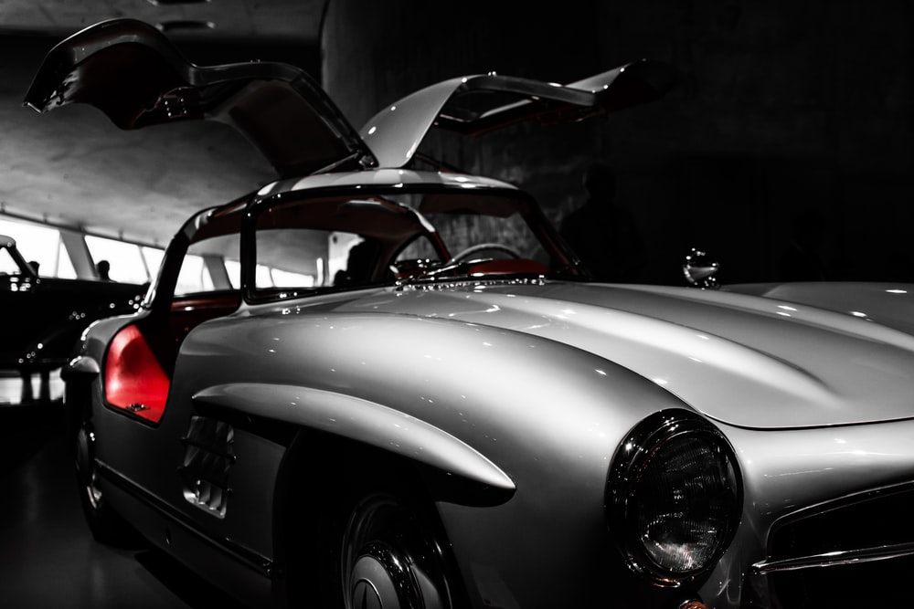 selective color photo of car