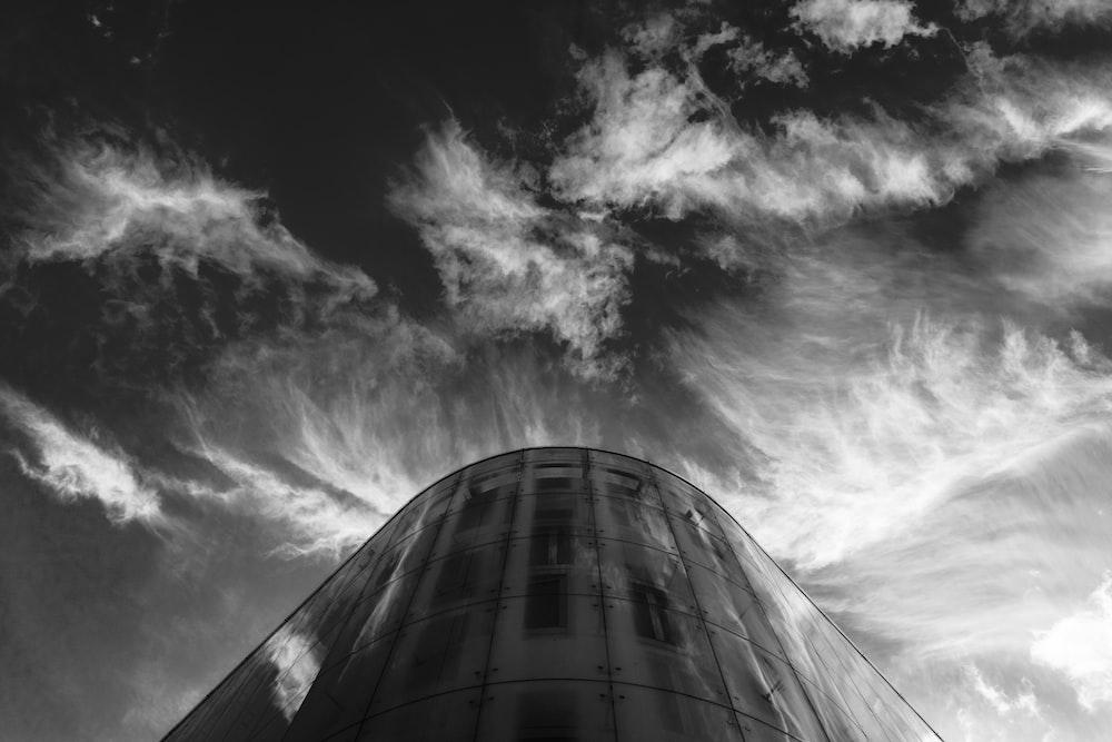 grayscale photo of silo