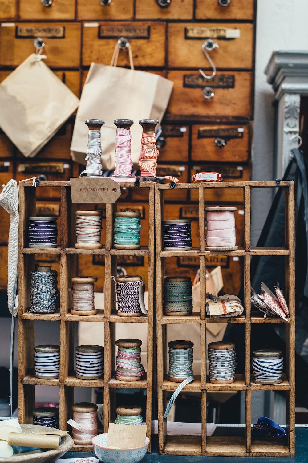 assorted threads on rack