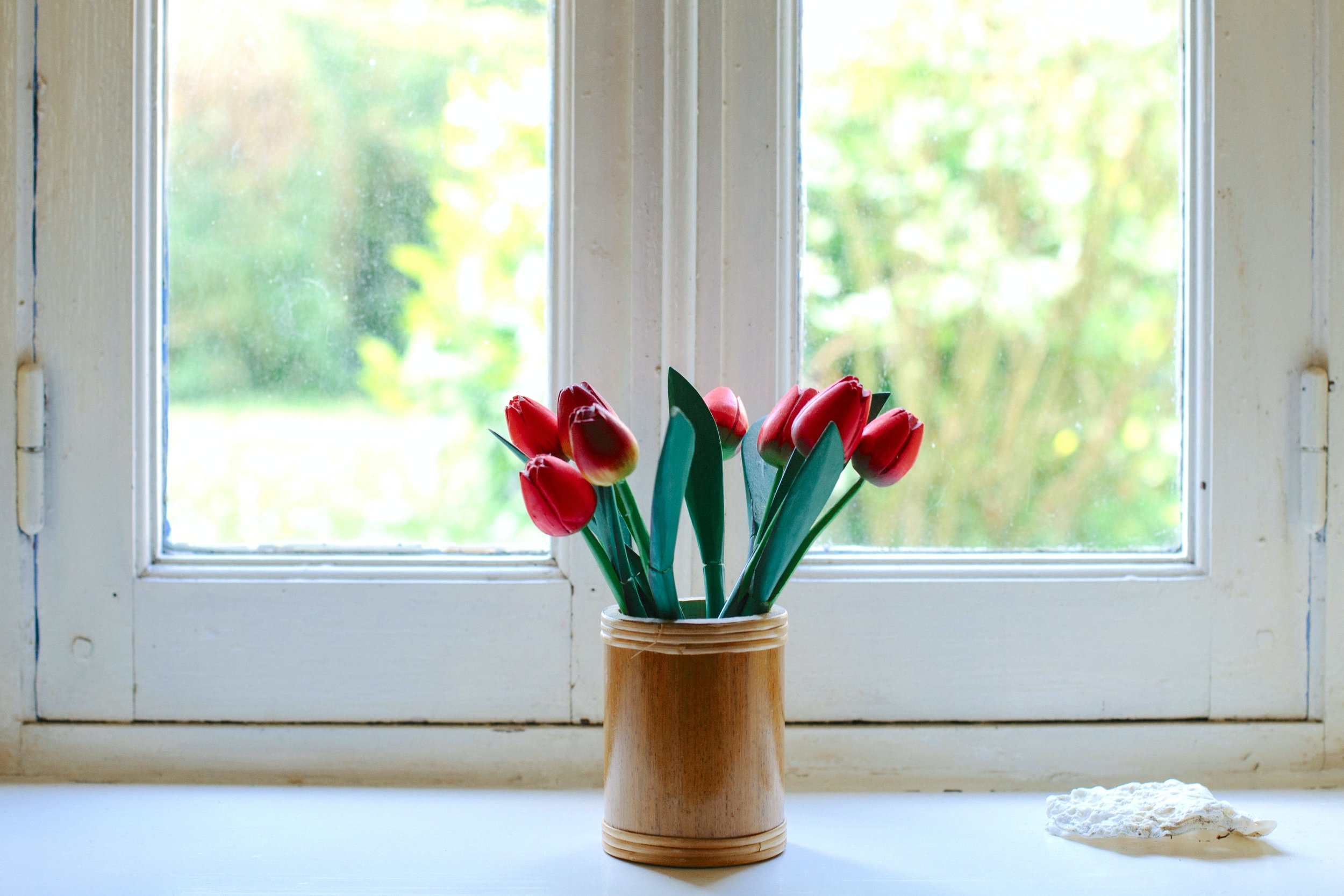 red tulips on clear glass jar