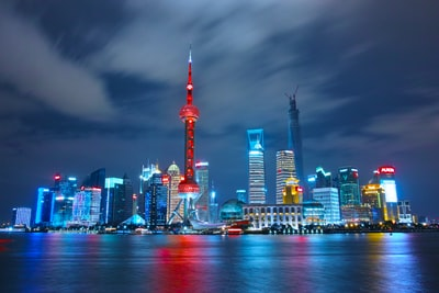 architectural photograph of lighted city sky china zoom background
