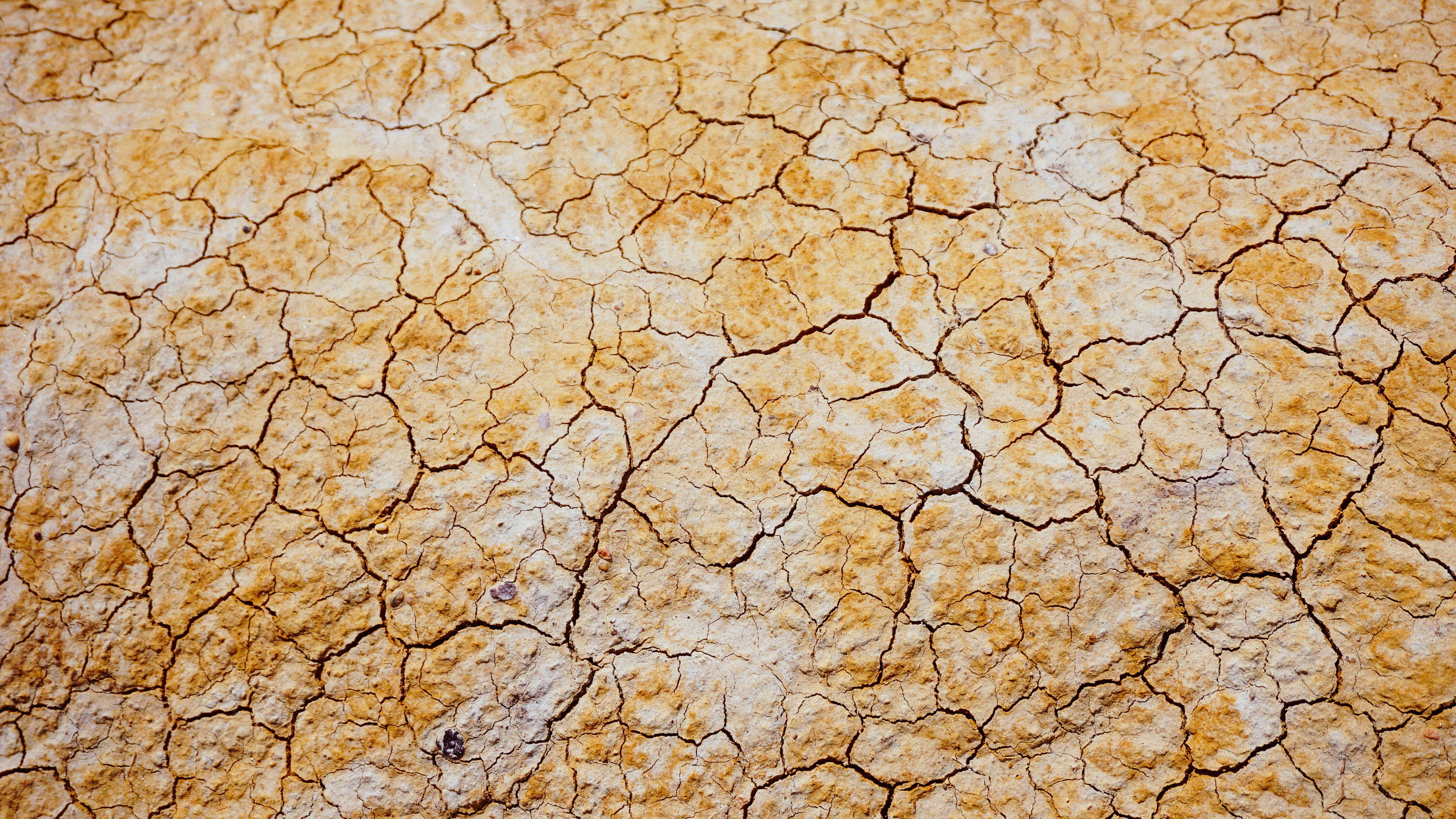 Aerial drone shot of cracks in yellow and white sandy desert floor