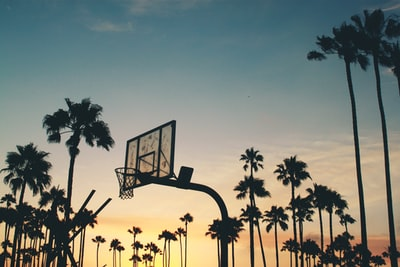 silhouette photo of basketball system basketball teams background