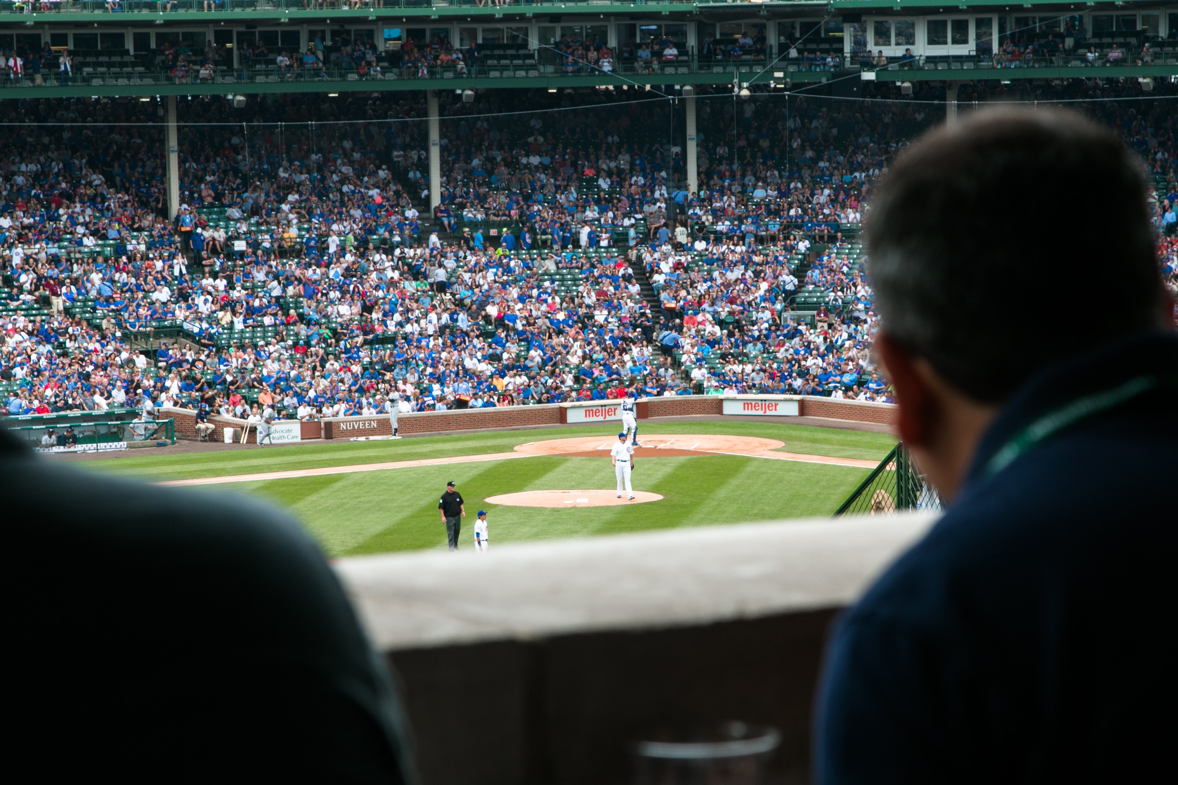 A shot from the announcer area at a professional baseball game in Chicago