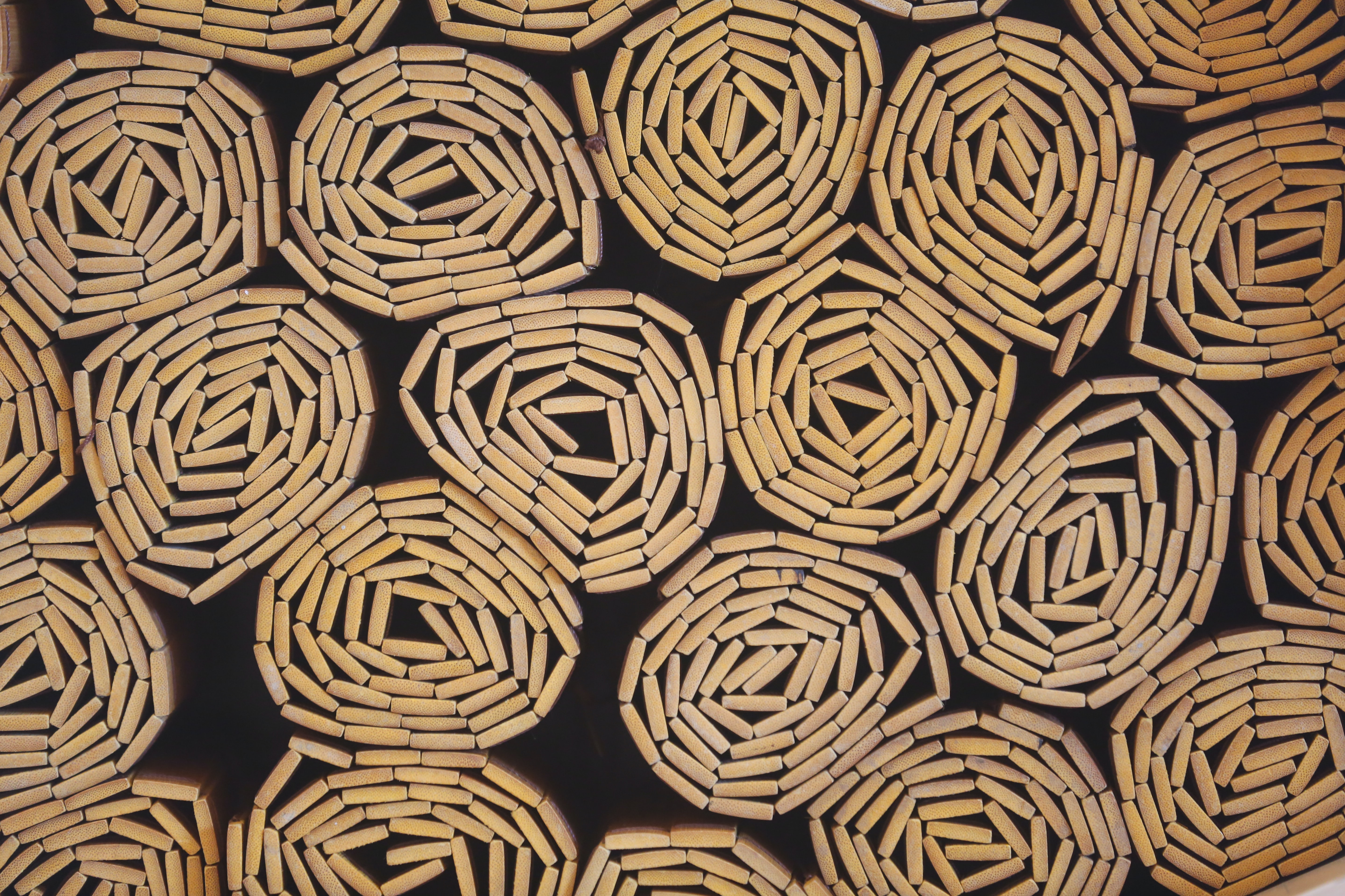 beds - curled up bamboo mats