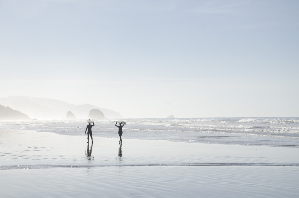 two men carrying surfboards near body of water