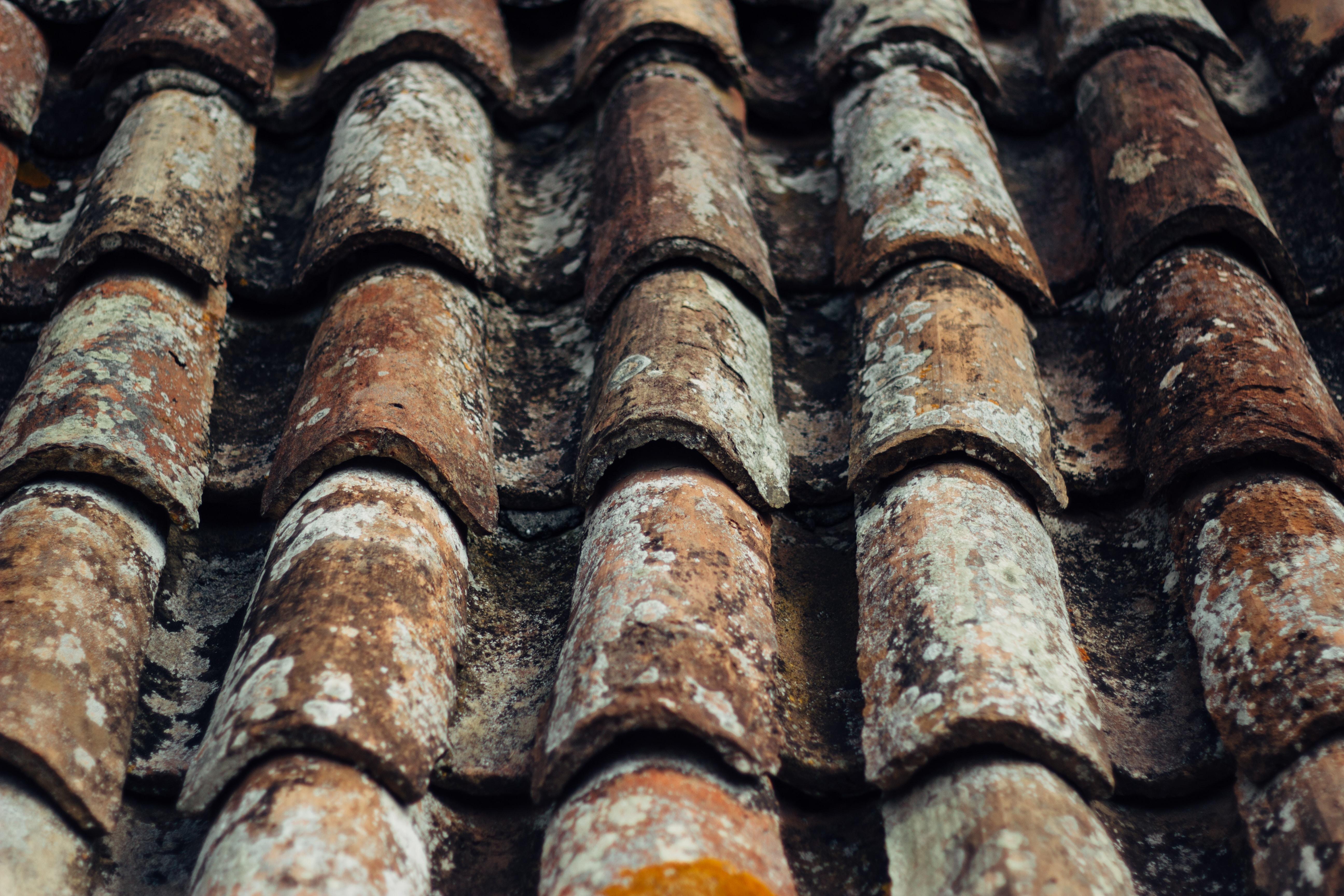 closeup photo of brown roof shingles