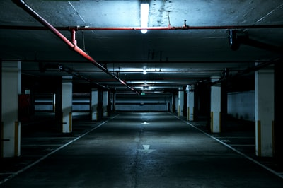Dark industrial parking lot