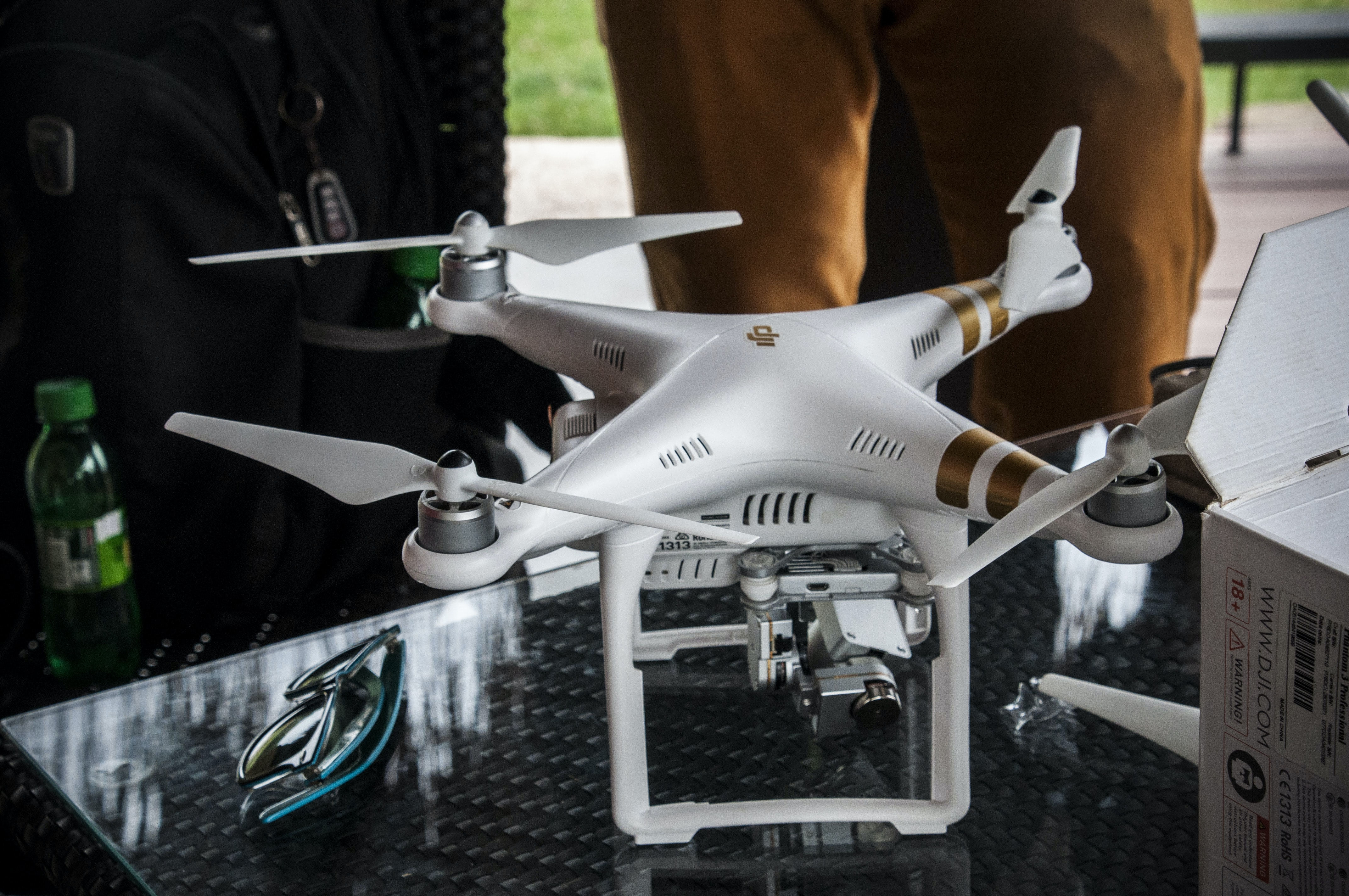 white DJI Phantom 3 Professional
