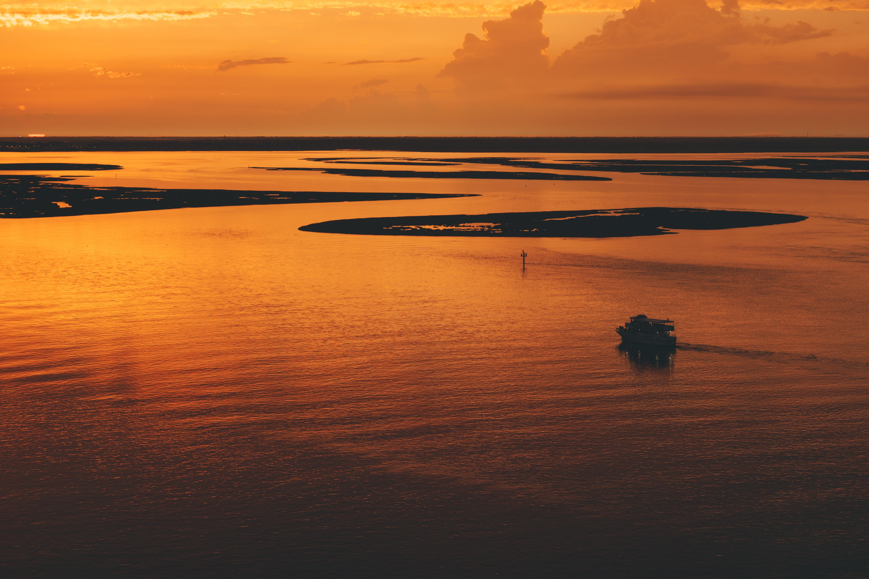 Orange-tinged sky and water along the coast of Atlantic City