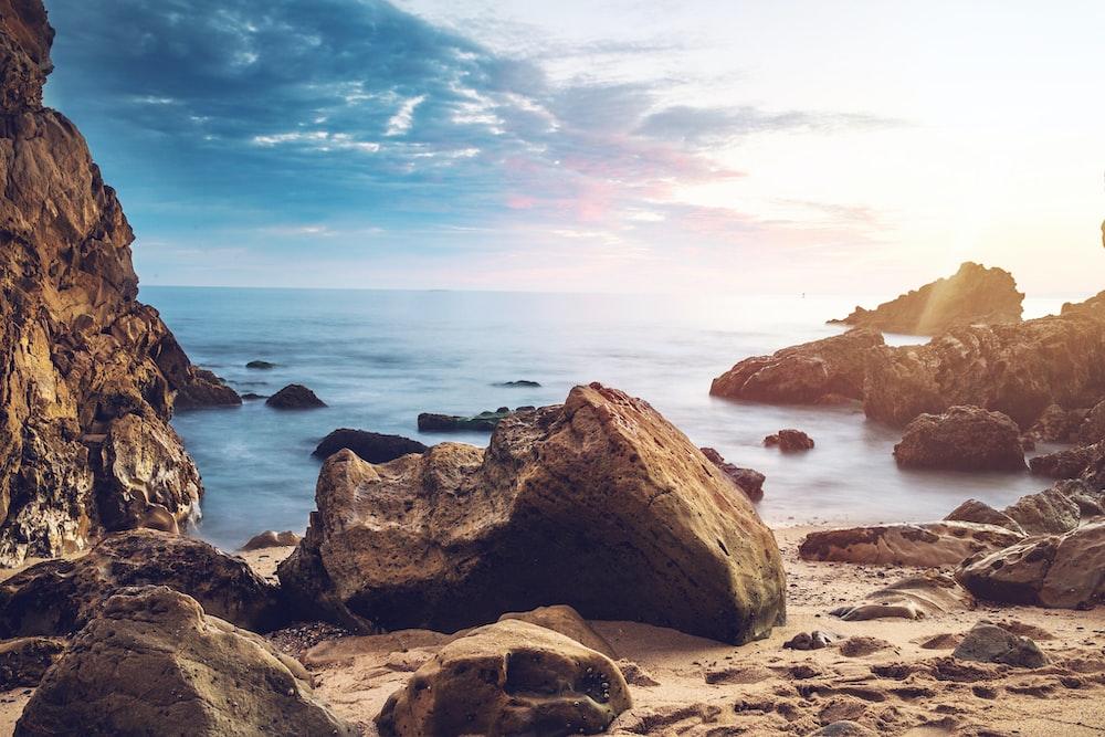huge rock near beach