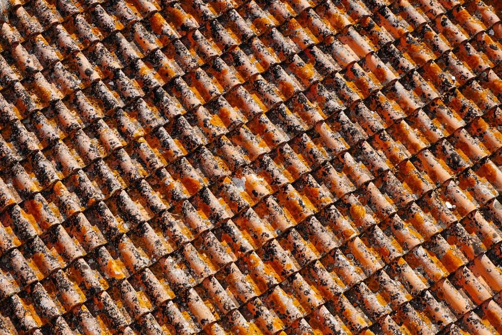 orange-and-black roof shingles