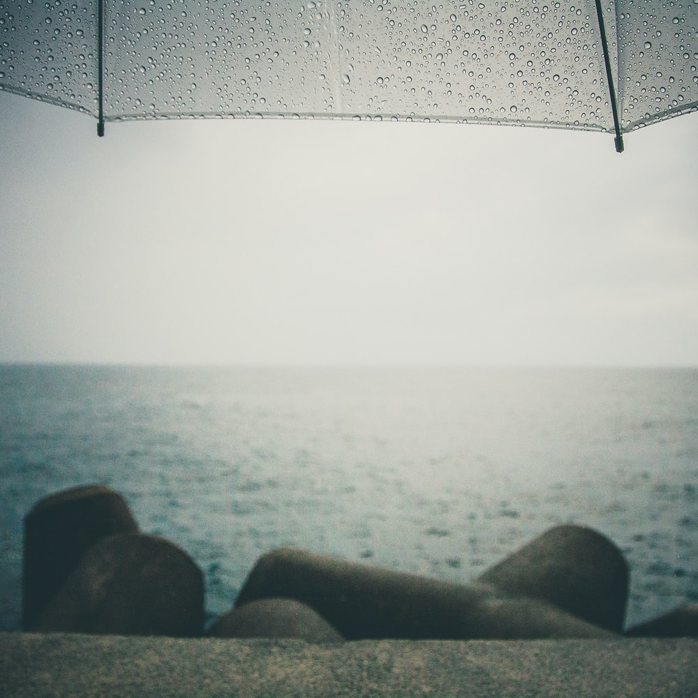 gray umbrella near body of water