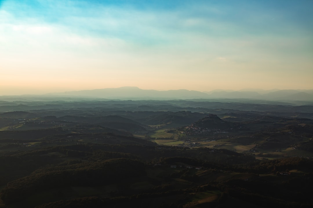 Balloon ride over hilly countryside in Riegersburg, Austria