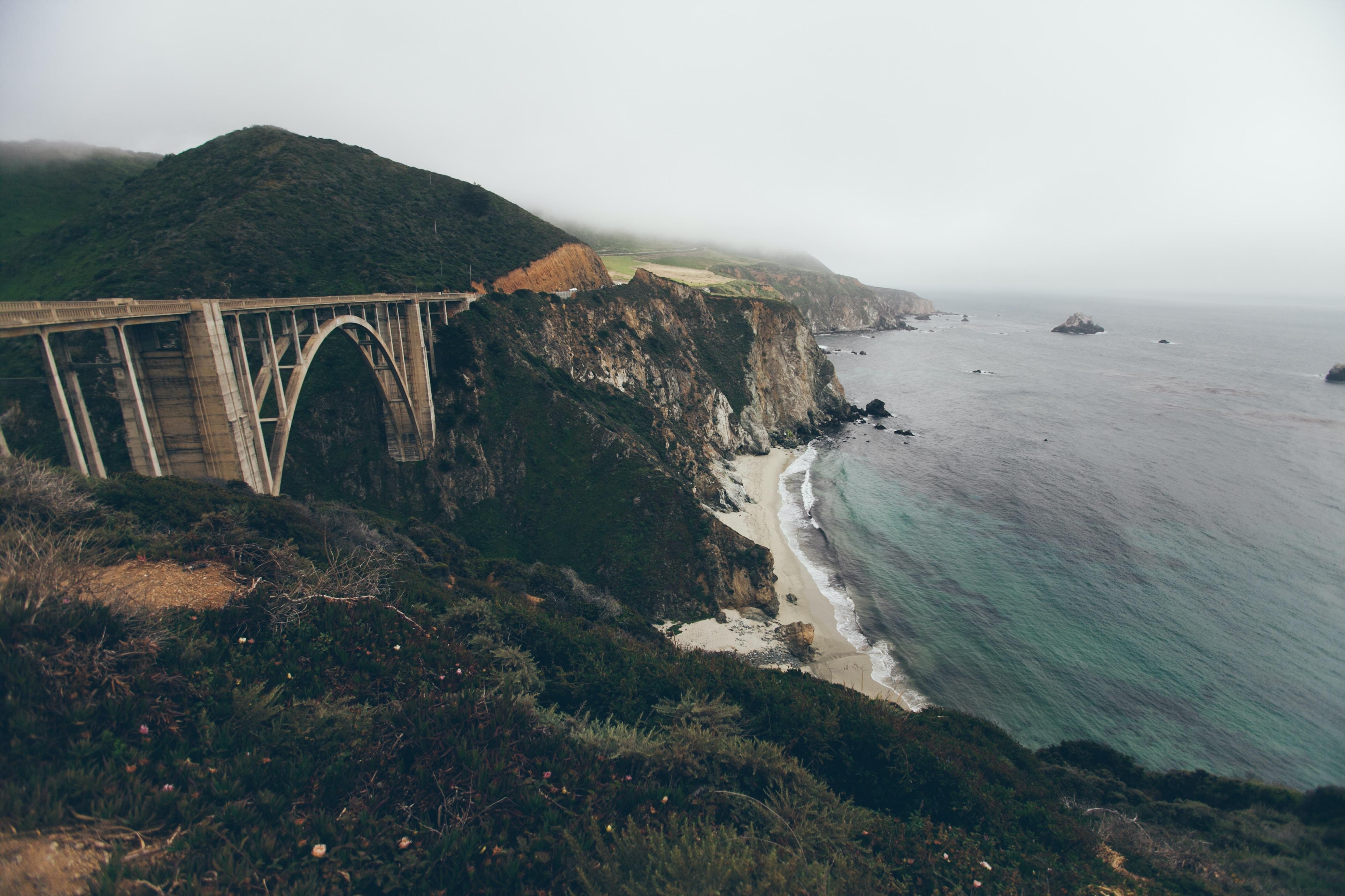 Bixby Creek Bridge in Big Sur overlooking the ocean and sandy beaches