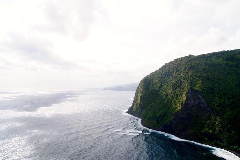 bird's eye view of cliff near body of water