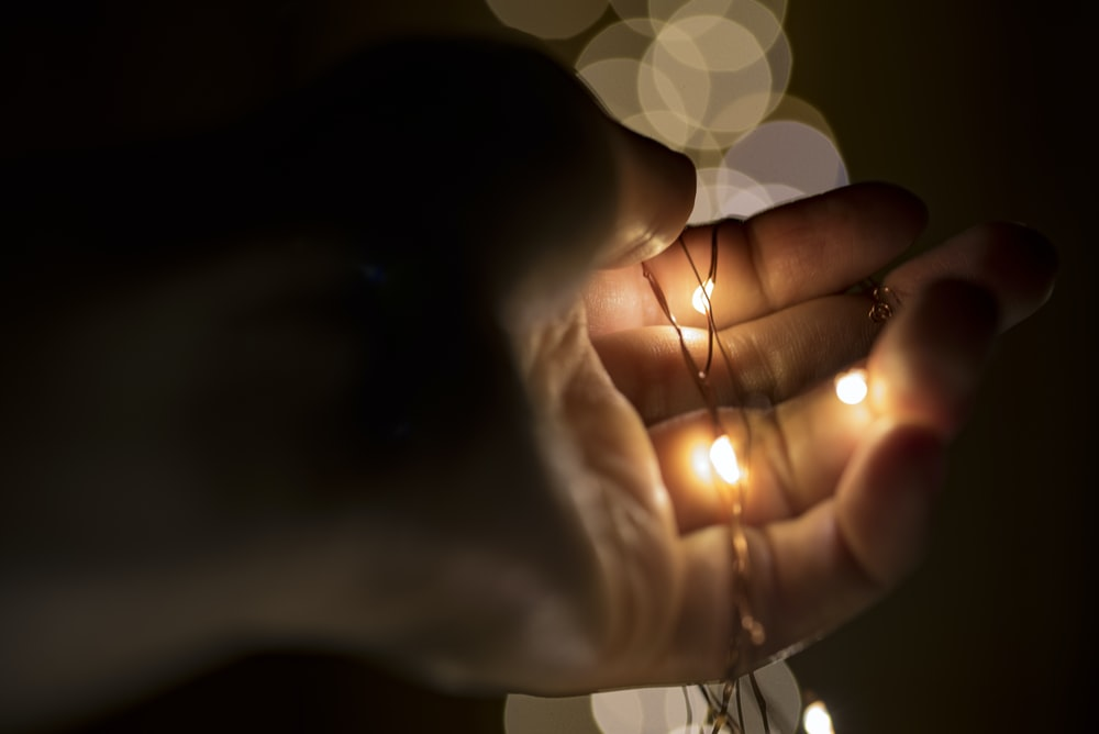 person holding lace with yellow lights