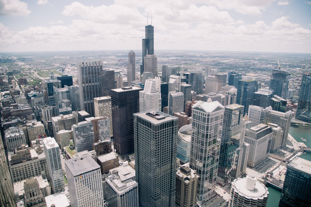 A Cityscape With High Rises In Chicago On Bright Day