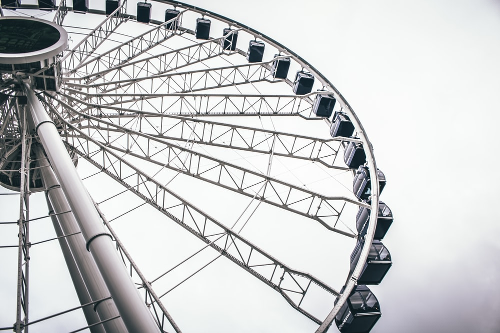 grayscale photo of ferriswheel