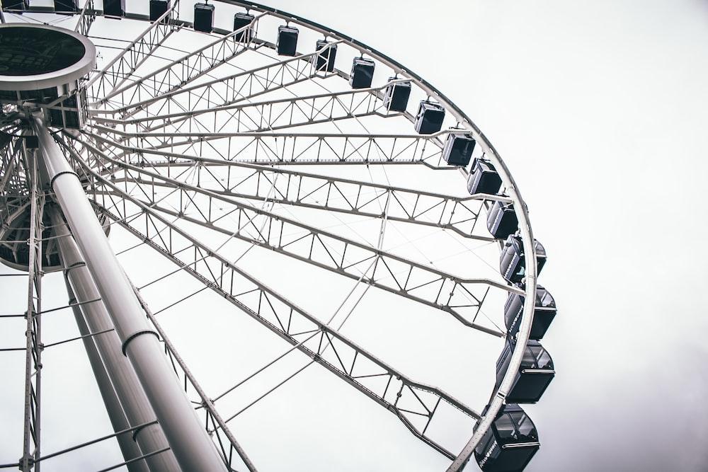 grayscale photo of ferriswheel