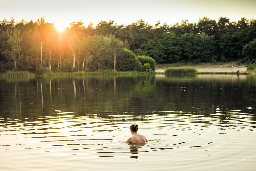 topless person in lake water near trees during daytime