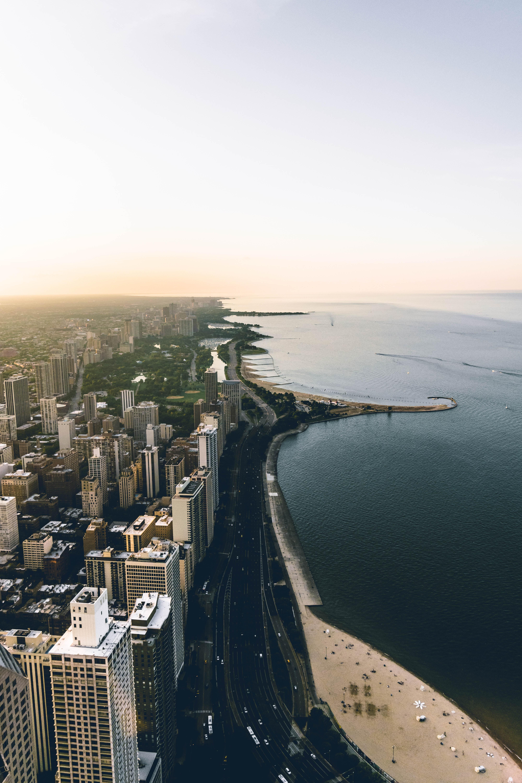 Drone view of a Chicago urban coastline
