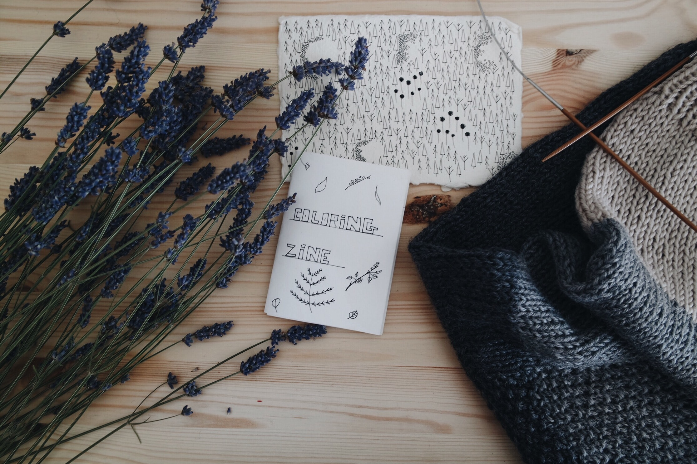 Flat lay of artist's desk with coloring book zine, lavender plants, and a scarf