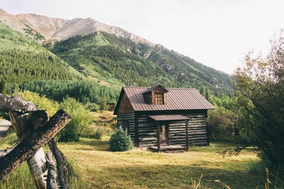 brown wooden house near mountains at daytime log home zoom background
