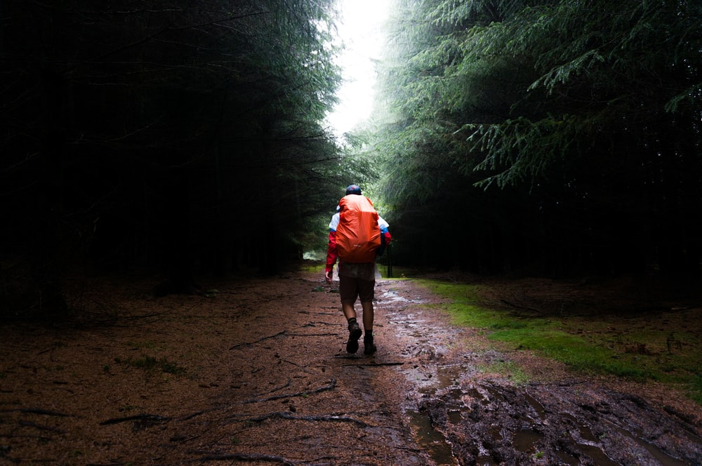 man with red bag in the middle of forest