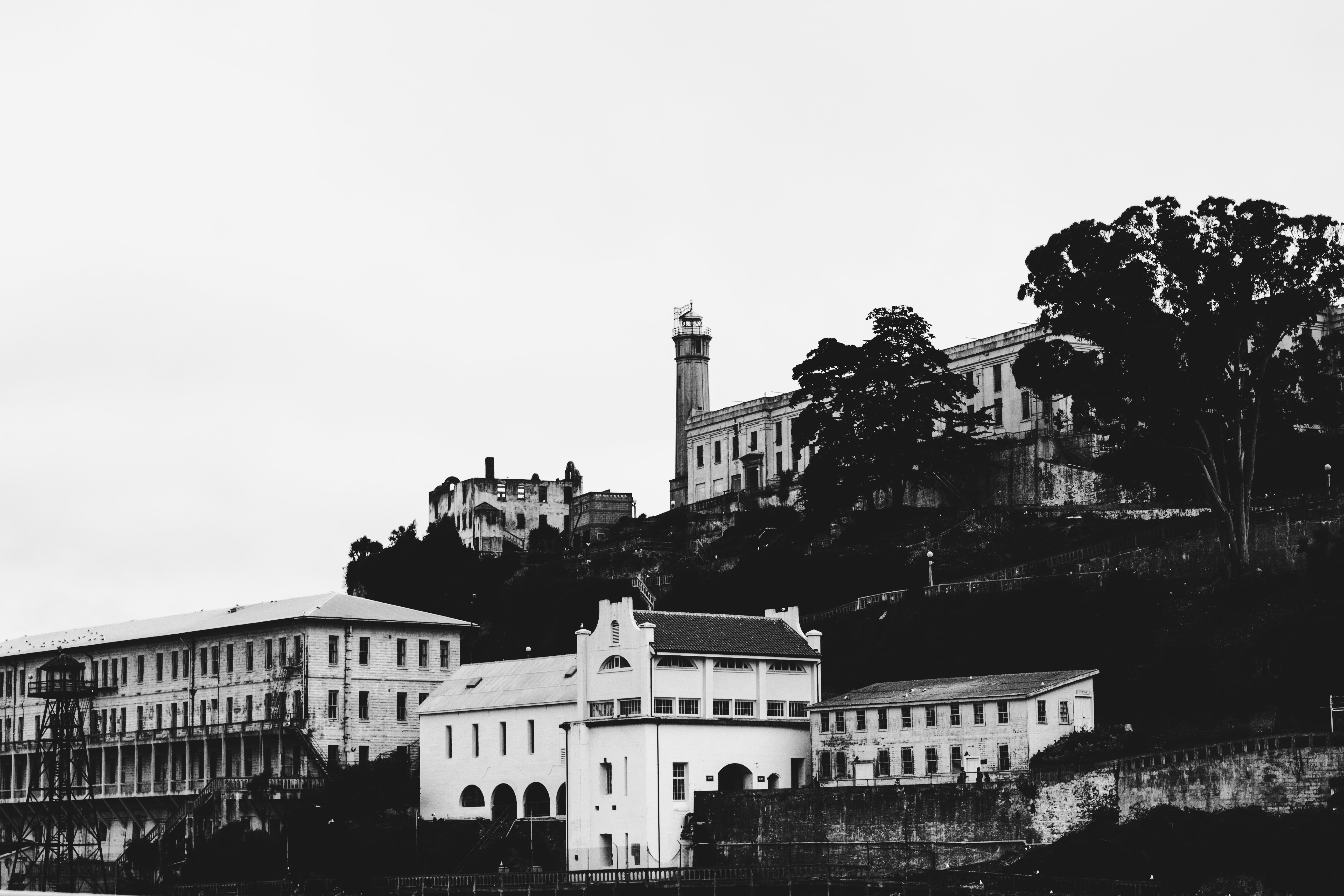 grayscale photo of buildings