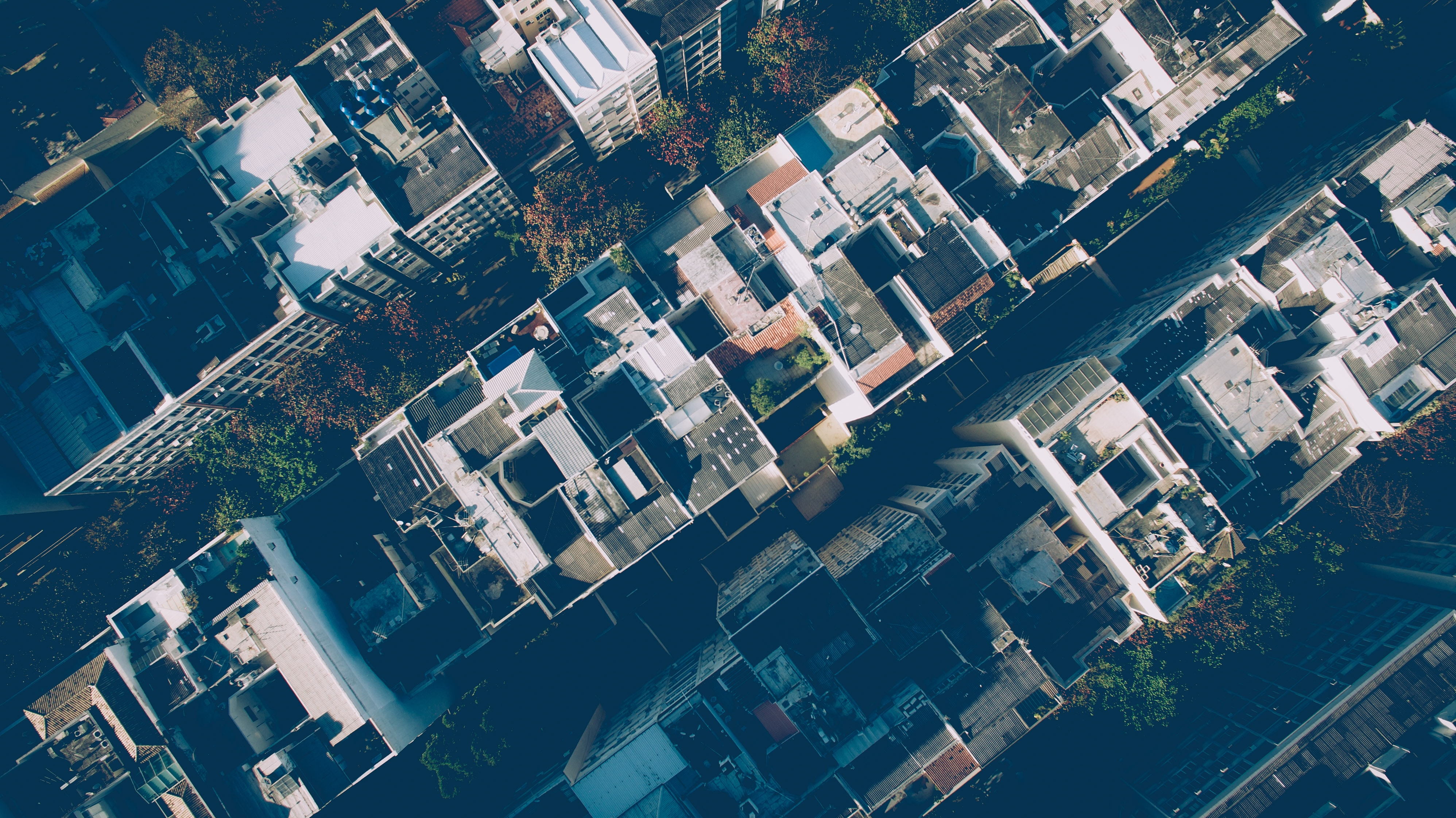 A drone shot of the roofs of residential buildings in Ipanema
