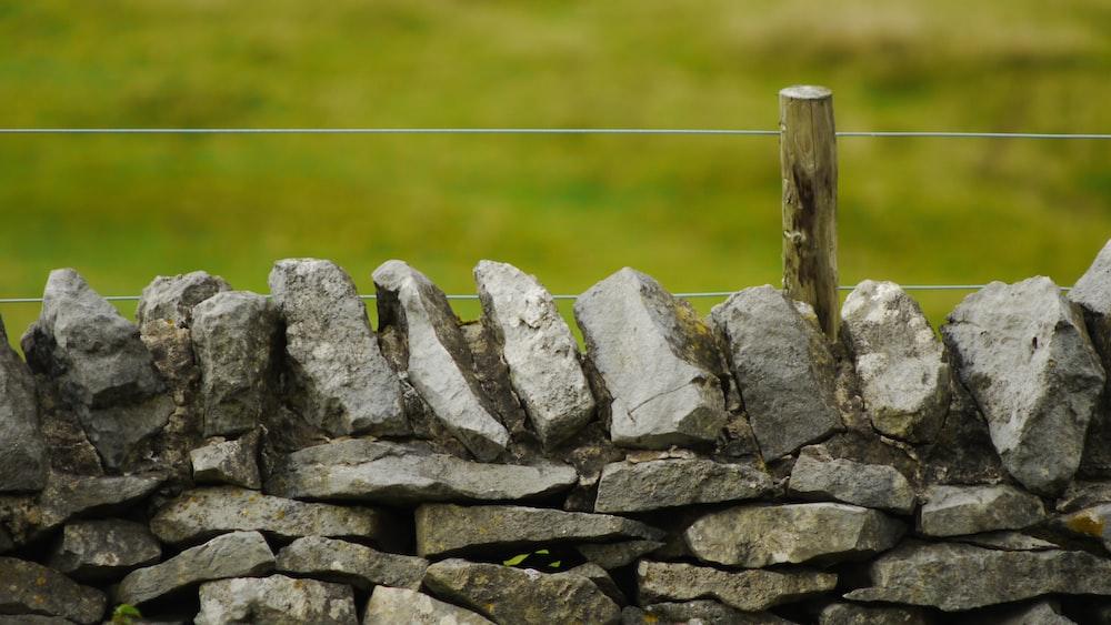 gray piled stones