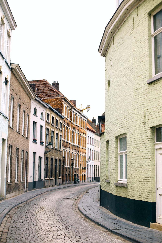 empty road between buildings