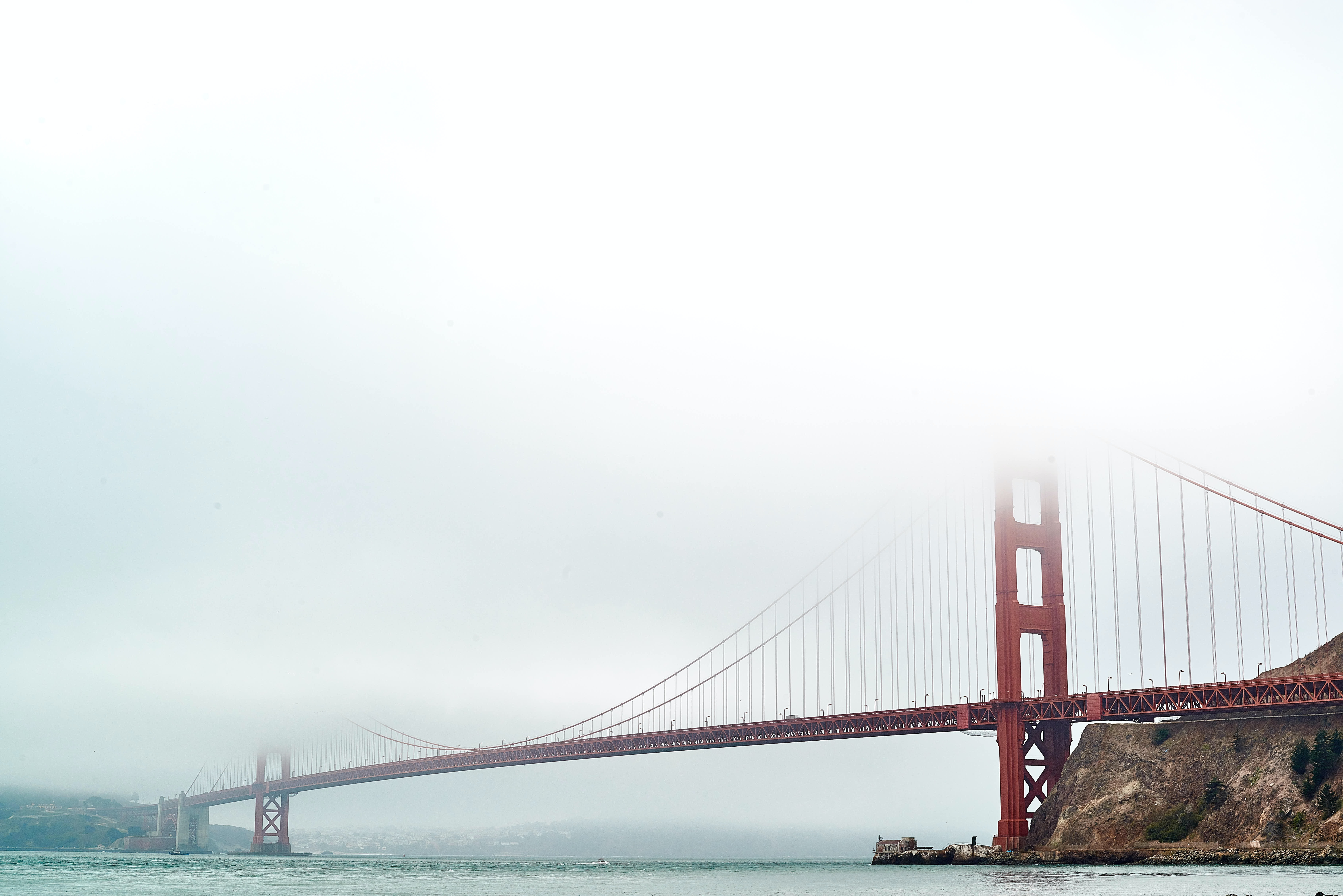 Foggy view of iconic landmark Golden Gate Bridge