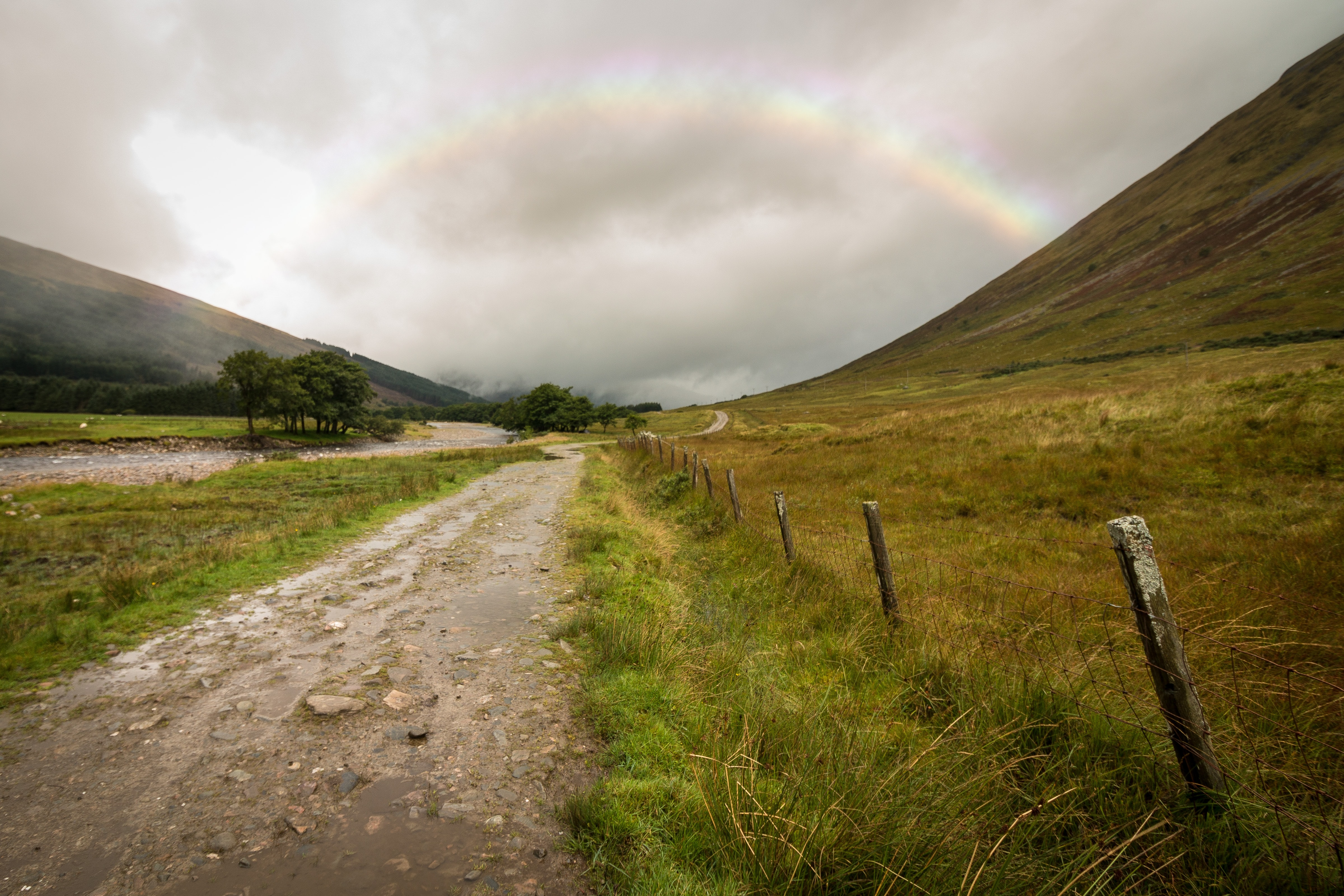 dirt road beside fence on mountainside below rainbow during daytime