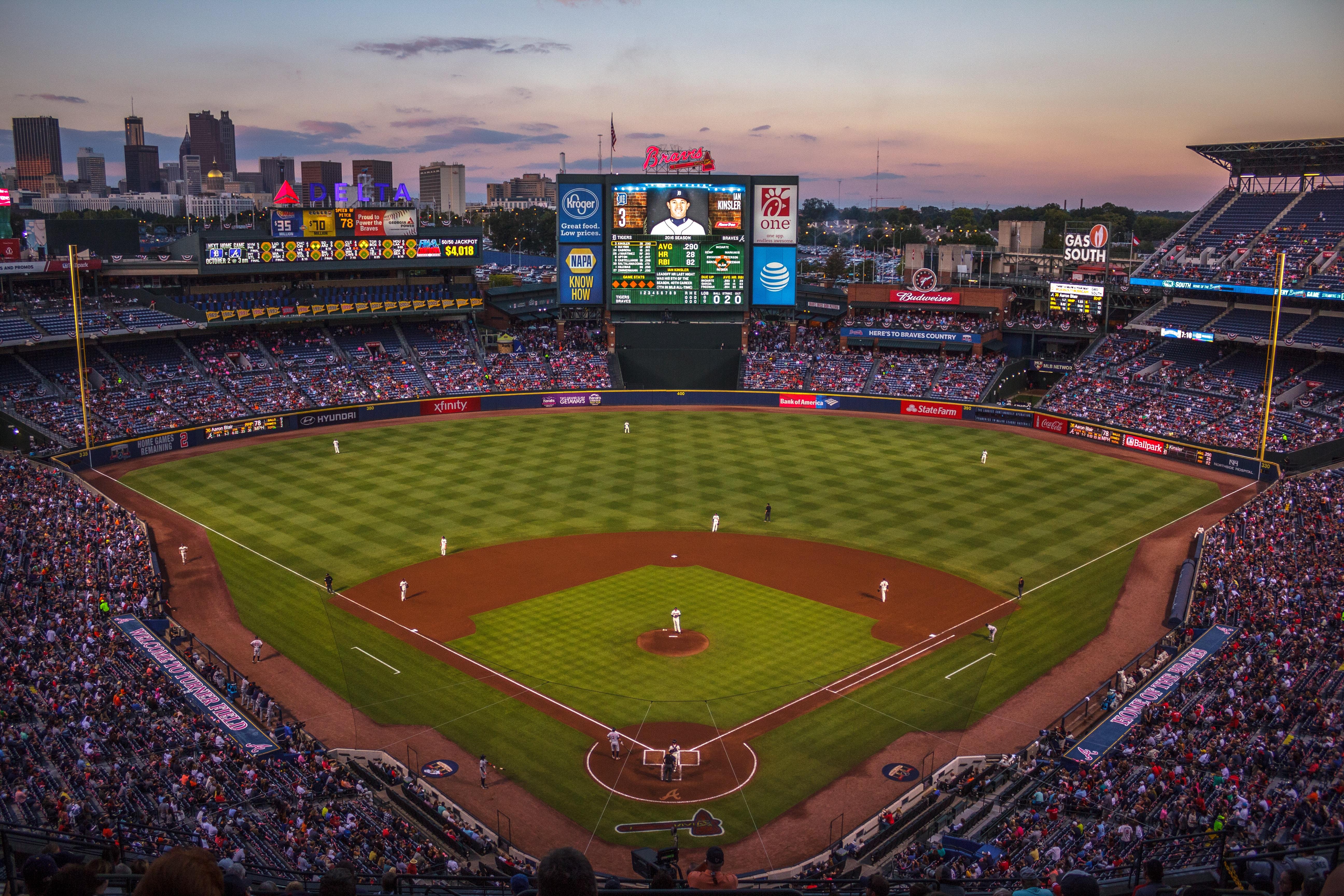 A major leagues baseball game at Turner Field
