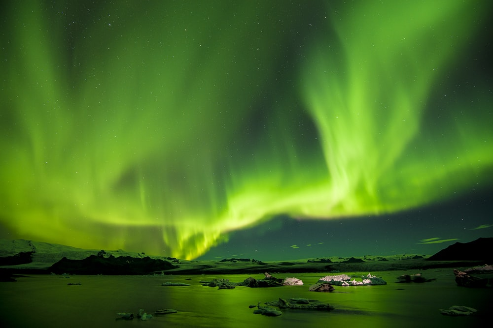 Places where sun never sets completely- aurora borealis