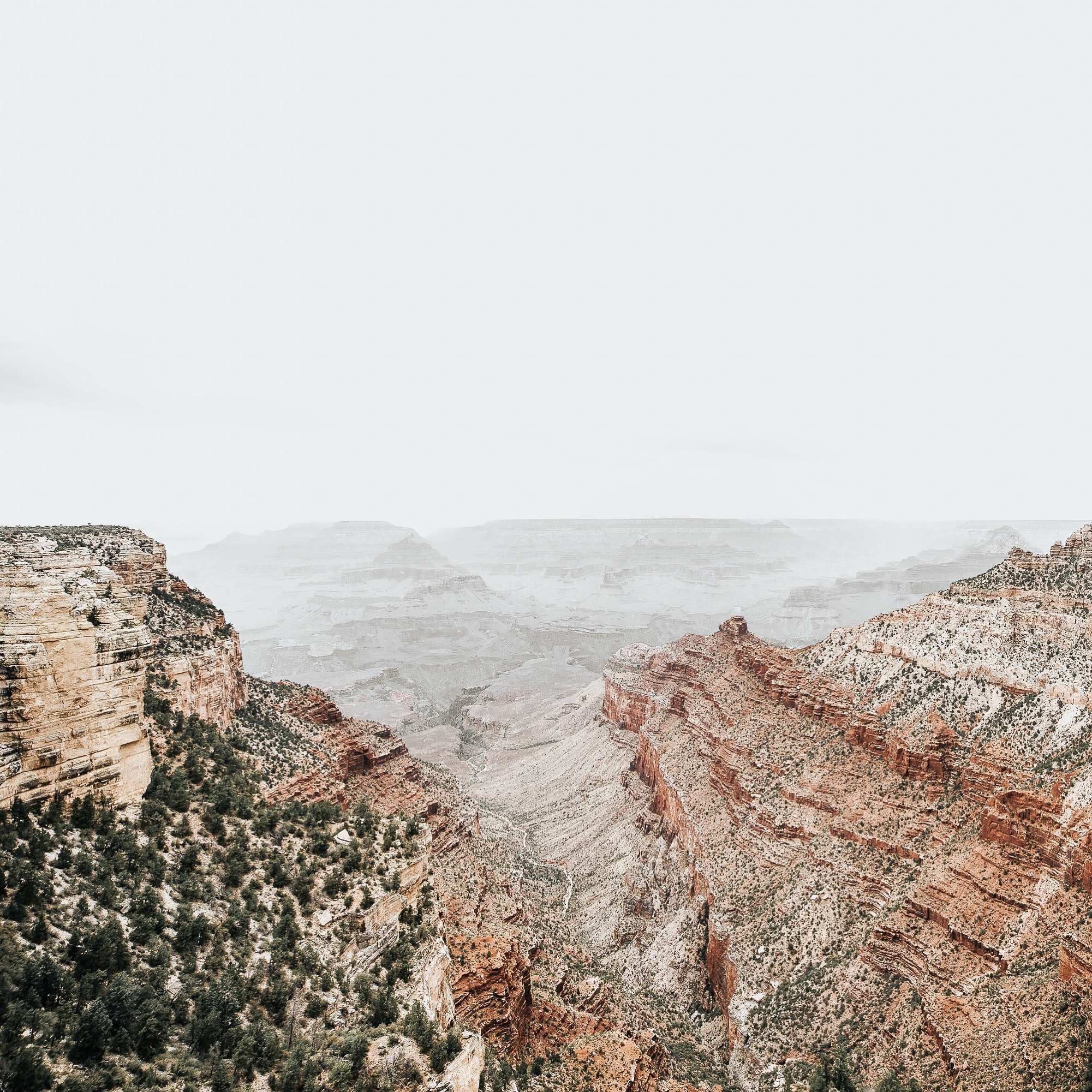 Overcast sky over the desert cliffs of Grand Canyon National Park