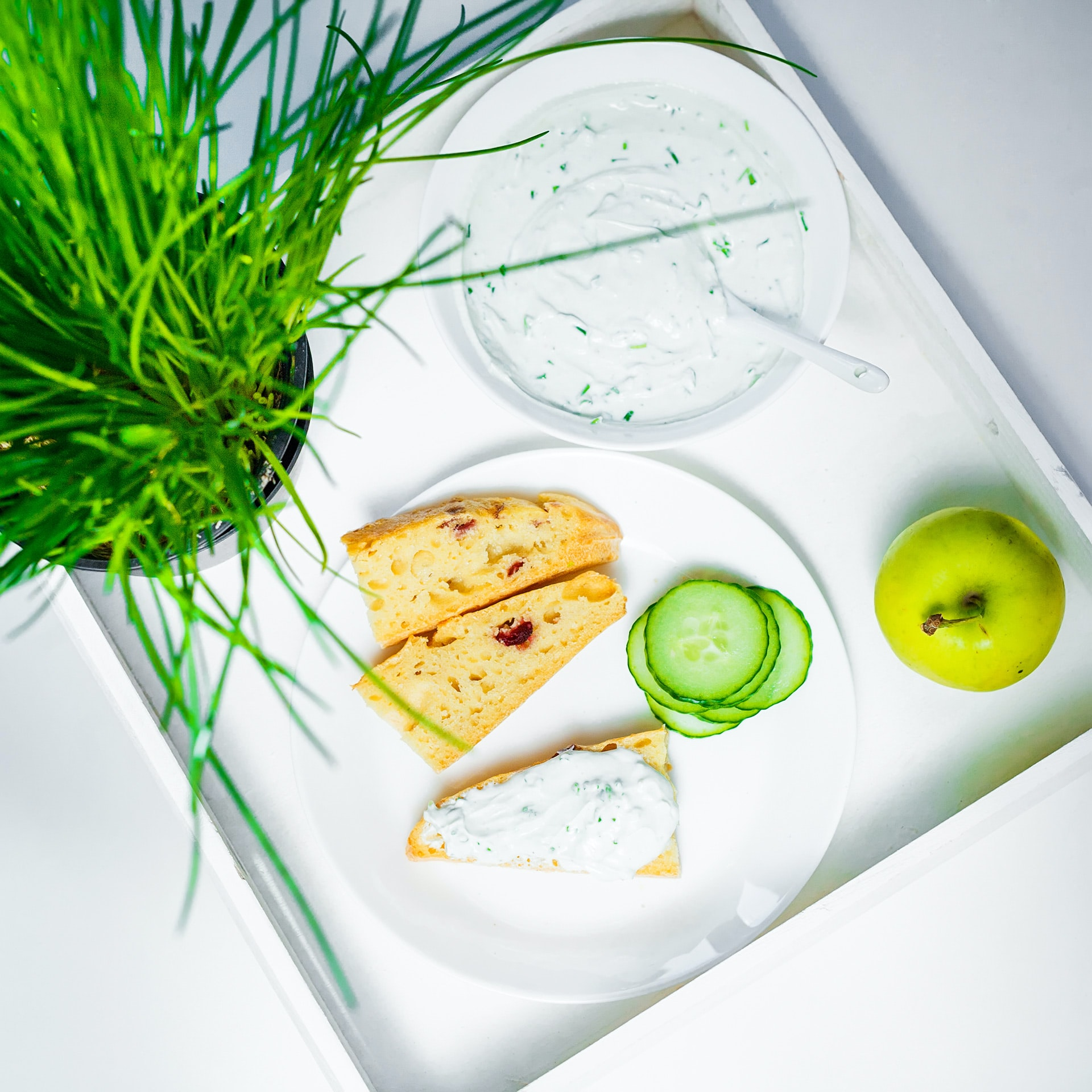 bread on white plate