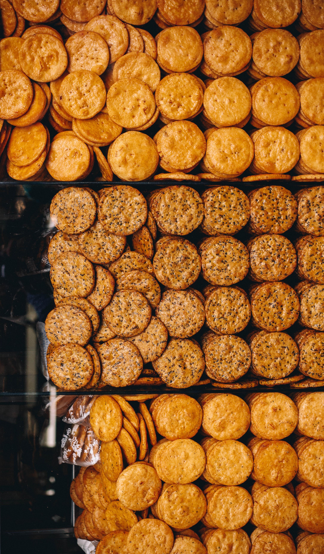 Overhead shot of fresh cookies, crackers, and biscuits in Tokyo