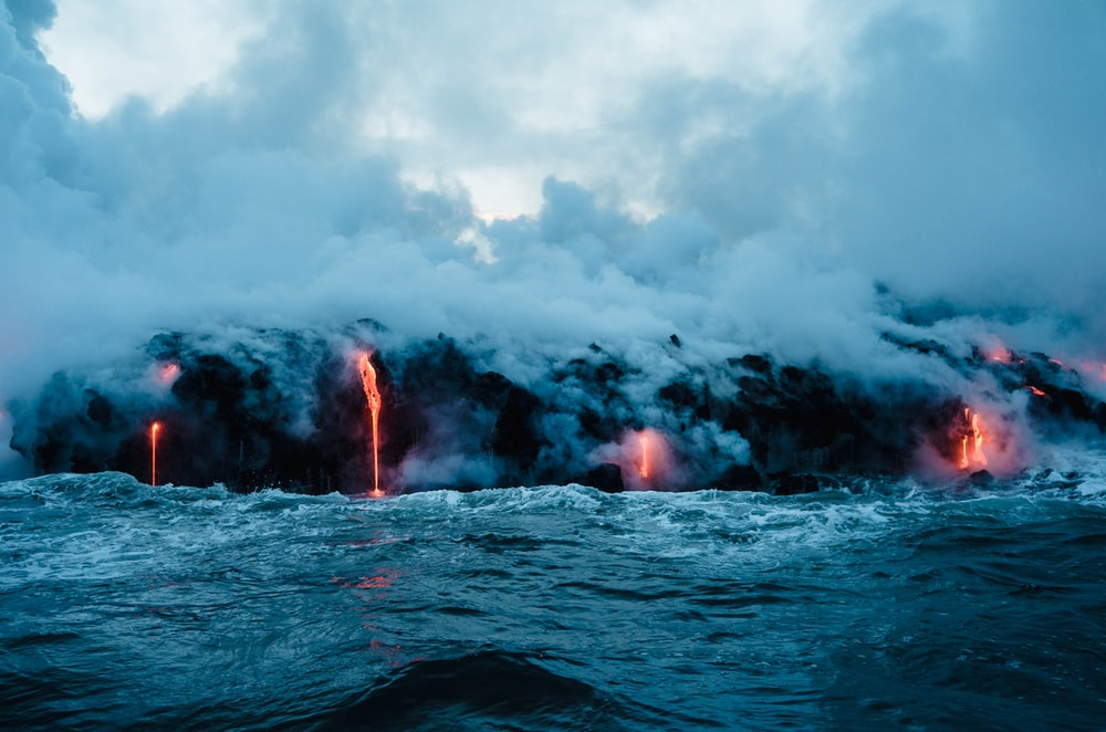lava dripping to ocean
