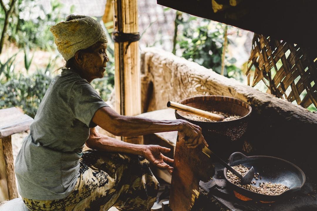 An elderly village woman cooking