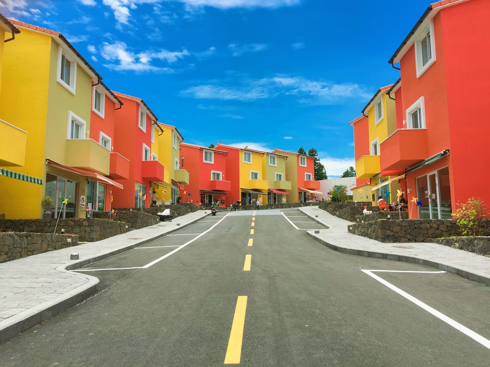 yellow and red concrete houses
