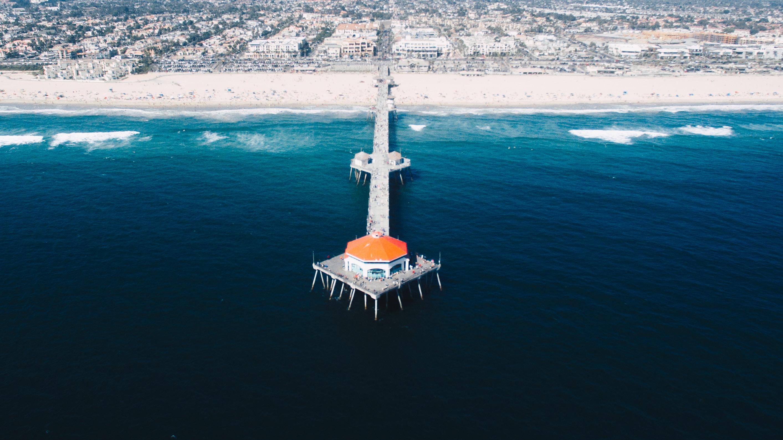 Drone view of the pier on the Huntington Beach coastline