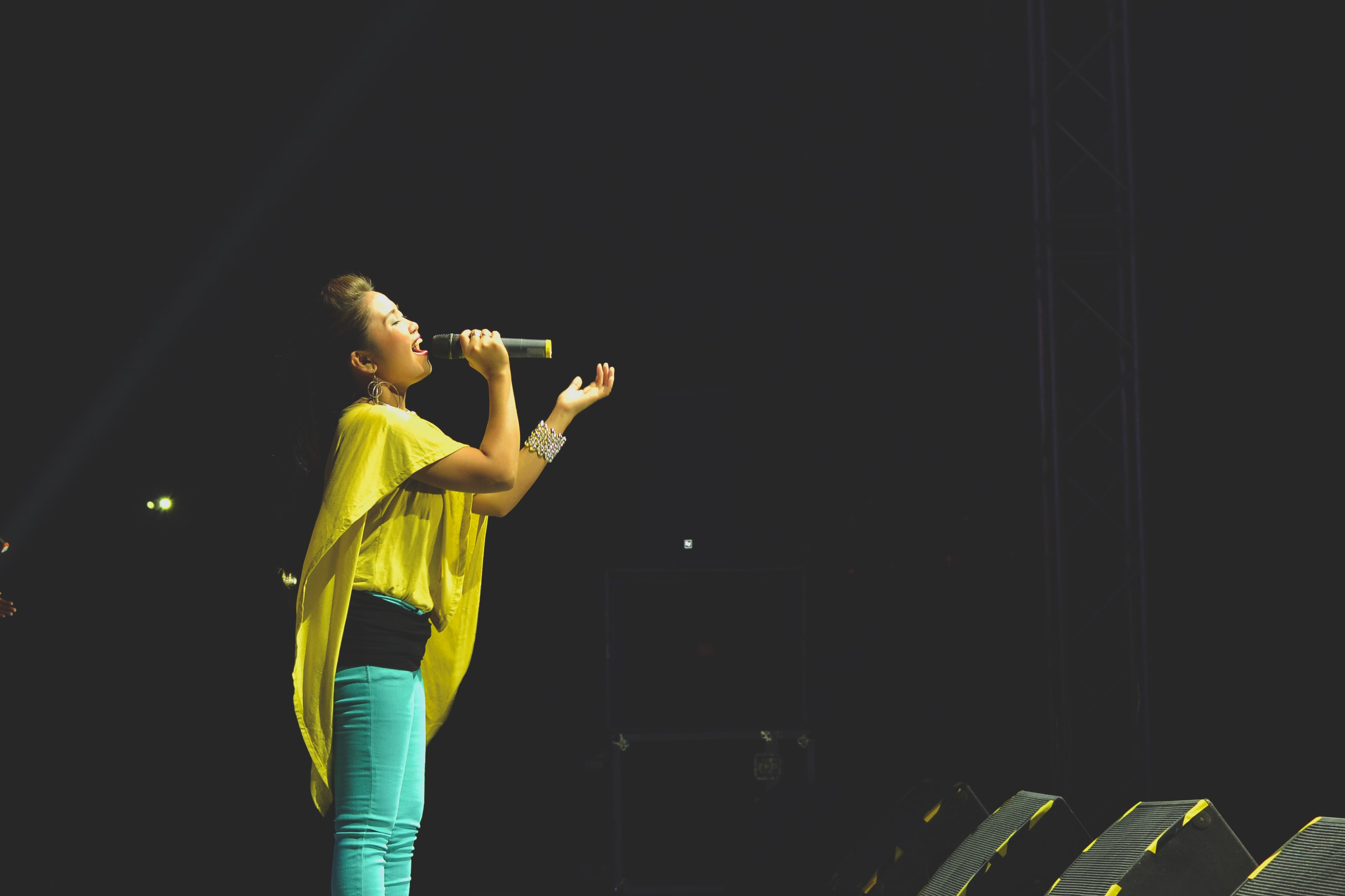 Singer belting onstage into a microphone during a concert