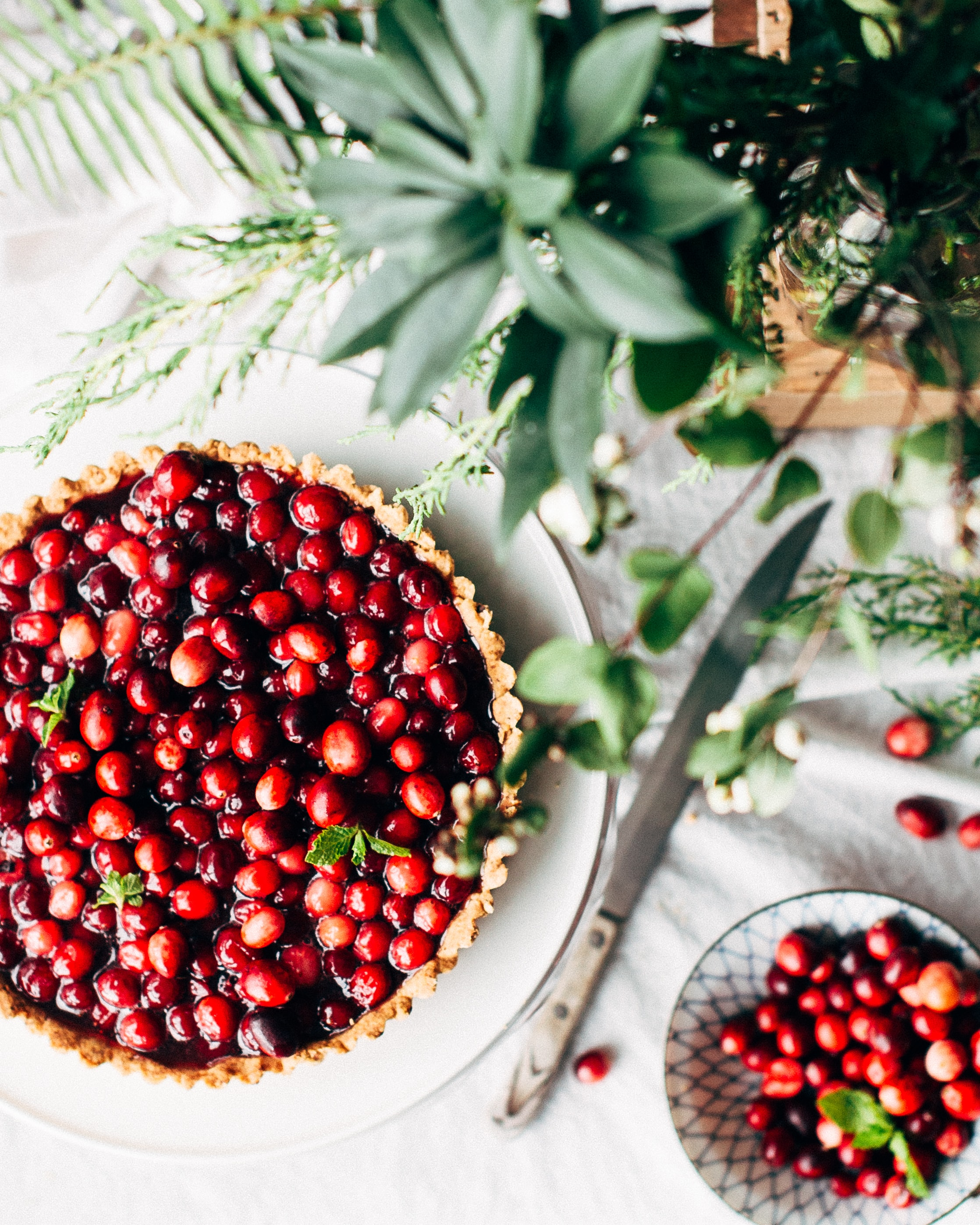 Fresh cranberries in a homemade pie crust with berry garnish
