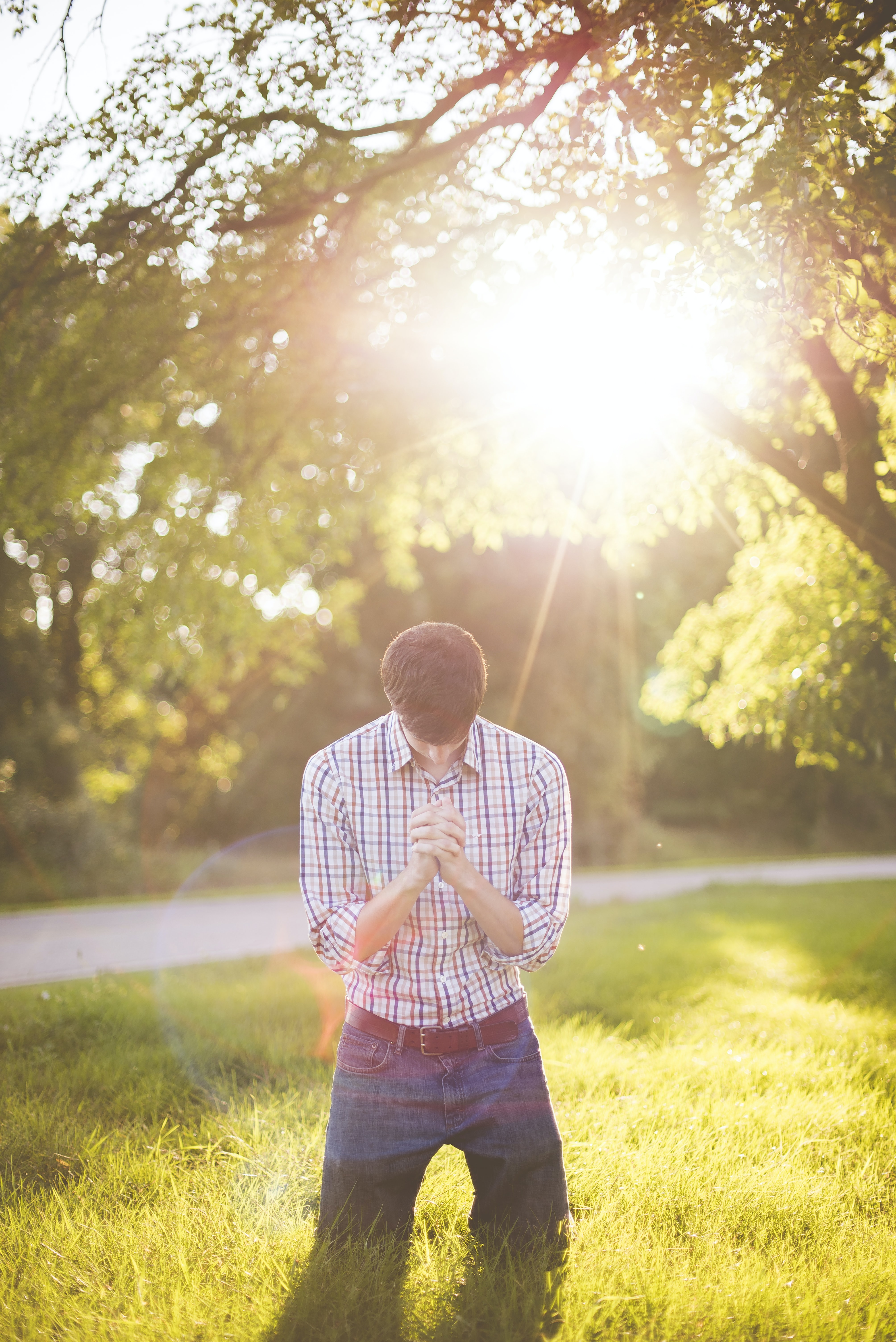 photo of man kneeling on grass near tree